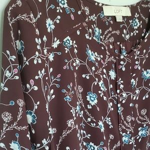 LOFT dark floral button down blouse